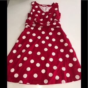 Boden red fit & flare a line Polka dot dress 10